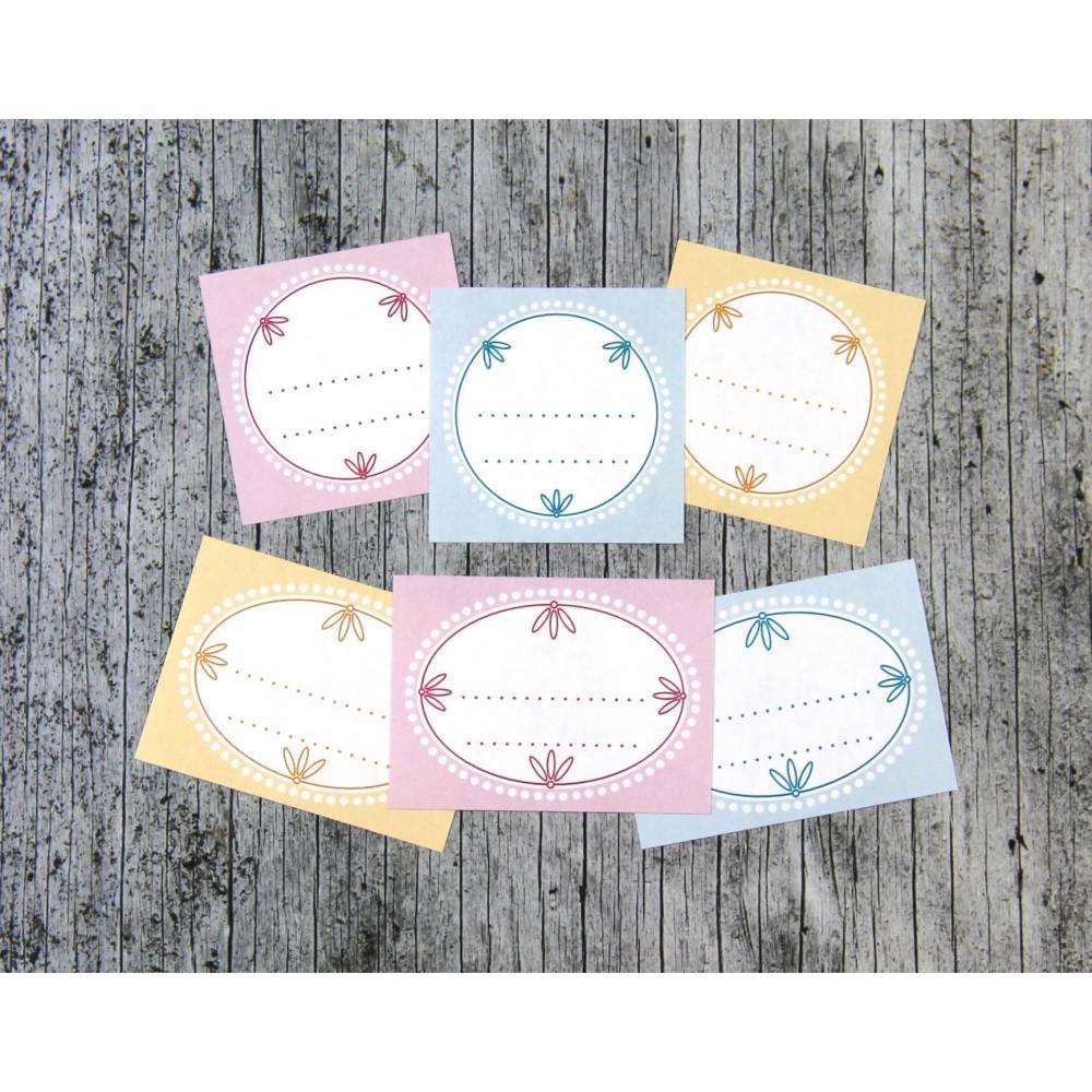 Einmachetiketten **PastellMix1** von ZWEIFARBIG 12 Stück gummiertes Papier Aufkleber Sticker Dekoration Marmeladenetiketten Etiketten Bild 1