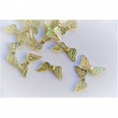 20 Flügel für Engel Kunststoff Perlen Spacer gelb/braun