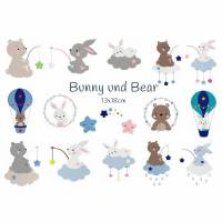 digitale Datei,Stickmuster Stickdatei Bunny und Bear Serie 13x18cm