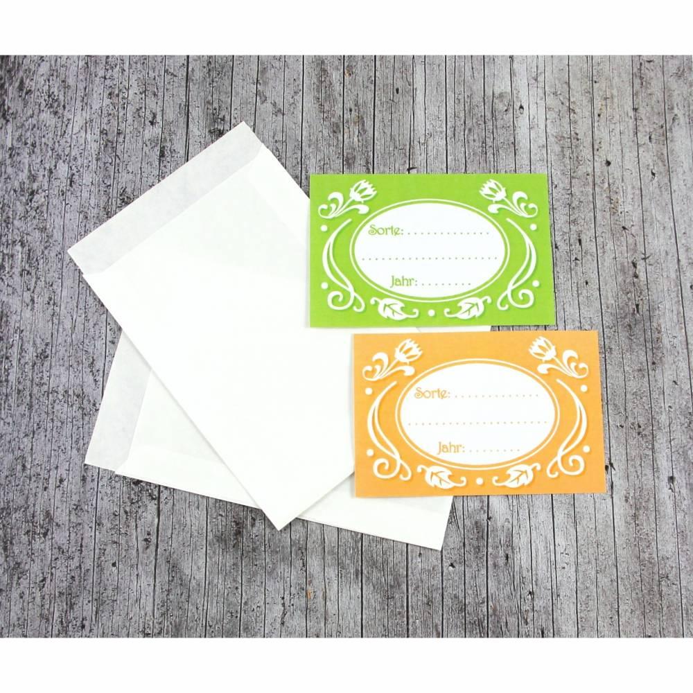 Etiketten **Nostalgie** von ZWEIFARBIG mit Samentütchen 10er Set Saatgut Aufbewahrung Garten eigenes Saatgut Aufkleber Sticker Papiertüte Bild 1