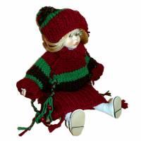 Puppen- Kleid Tunika Pullover und Bommel- Mütze Weinrot Grün Braun für ein schlankes Puppenkind  Bild 1