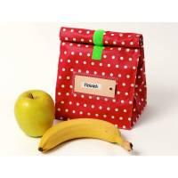 Lunchbag, Brotbeutel, Tasche, rot mit weißen Pünktchen, beschichtete Baumwolle, wasserabweisend Bild 1