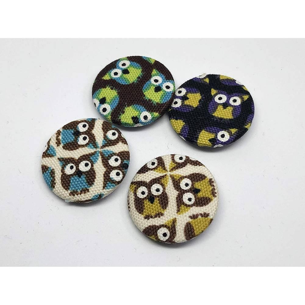 4er Button-Set Eulen, Kawaii, Stoffbuttons 25mm Bild 1