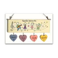 Türschild Familie personalisiert Holztürschild Musikanten Namensschild mit Herzanhänger von Hand bemalt Bild 1