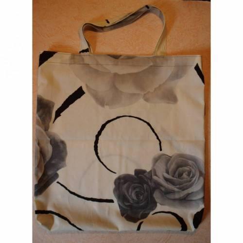 Stofftasche, Einkaufstasche, Shopper, Stoffbeutel, mit schwarzen Rosen