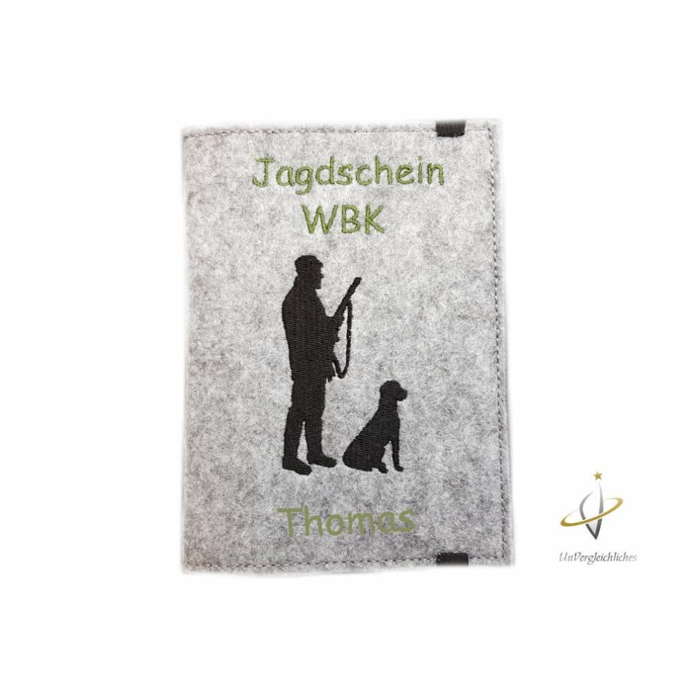 Jagscheinhülle Hülle für den Jagdschein WBK Jäger mit Hund Geschenk Jäger Bild 1