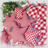 12 Sterne  Christbaumschmuck aus Stoff rot -weiß, Weihnachtsdeko, Sterne für Adventskalender, Adventskranz, Geschenkanhänger, Stoffanhänger Bild 1