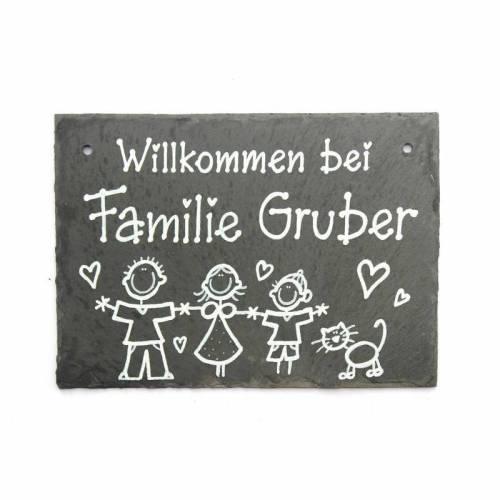 Türschild Schiefer personalisiert Namensschild Familie mit Wunschfiguren