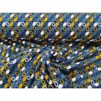 Alpenfleece retro, Muster senf, petrol, blau Bild 1