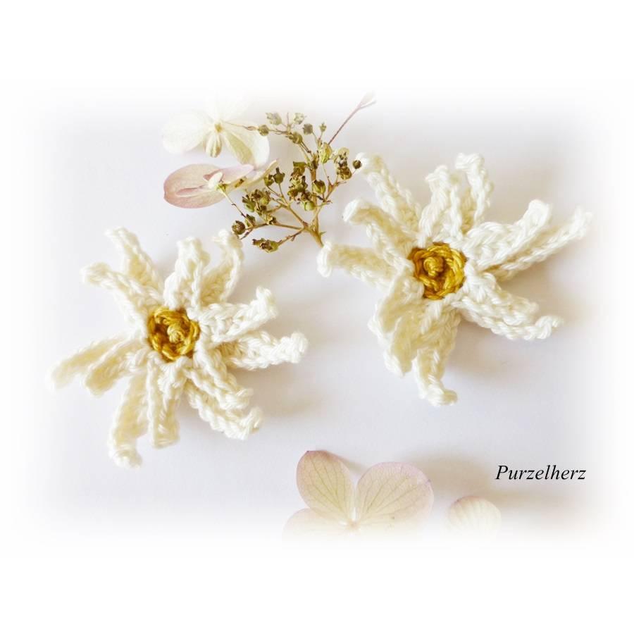 2 gehäkelte Edelweiß - Blumen - Häkelapplikation zum Aufnähen Bild 1