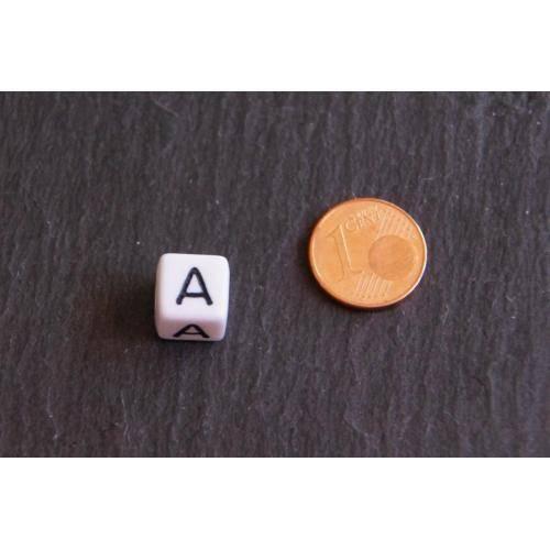 1 Buchstabe A 10 x 10 mm Buchstabenperlen weiß / schwarz  Würfel Bild 1