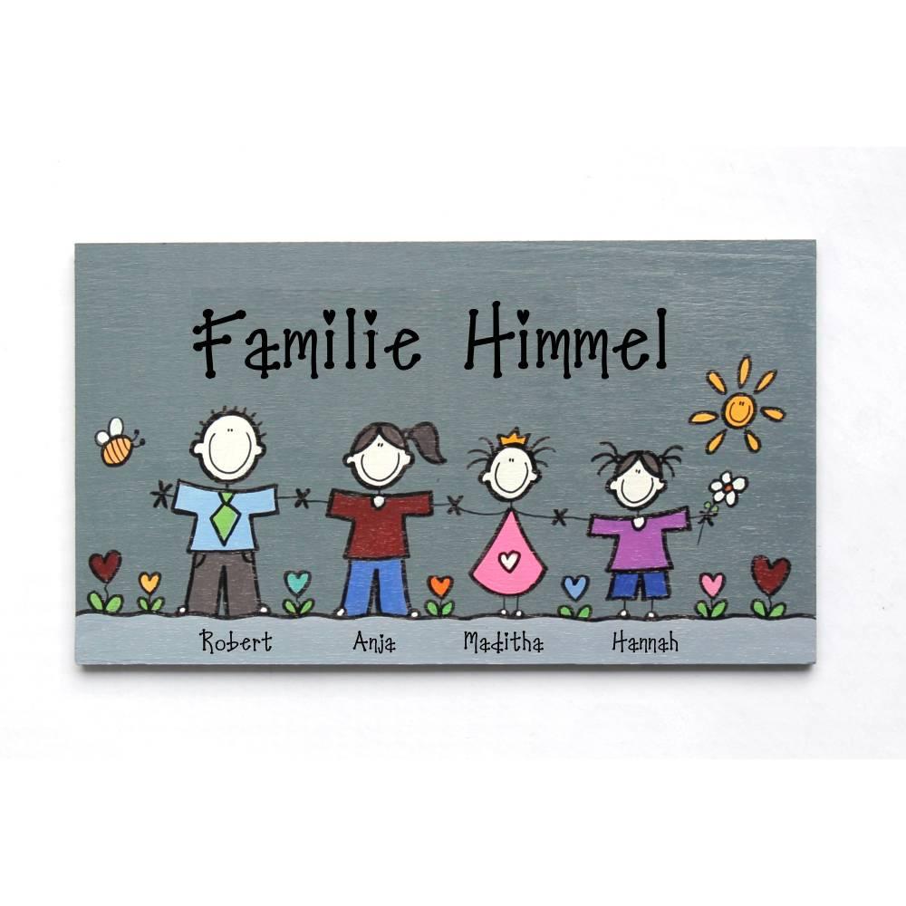 Türschild Familie, Namensschild Holz individuell personalisiert Bild 1