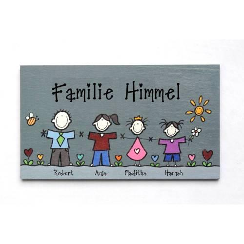Türschild Familie, Namensschild Holz individuell personalisiert