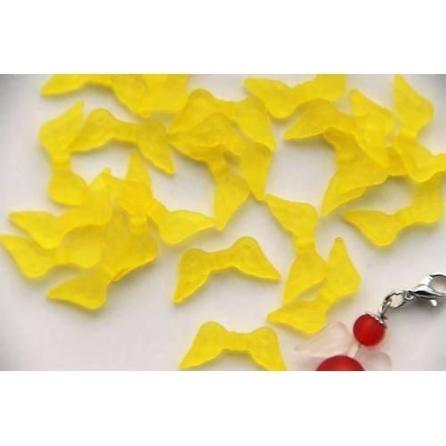 20 Flügel für Engel Kunststoff Perlen Spacer gefrostet gelb