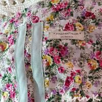 Häkel- Bag Hippie- Tasche City- Bag Wollweiß Taupe Innentasche aus Baumwolle im Blüten- Design Bild 10