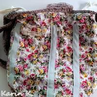 Häkel- Bag Hippie- Tasche City- Bag Wollweiß Taupe Innentasche aus Baumwolle im Blüten- Design Bild 4