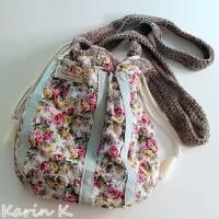 Häkel- Bag Hippie- Tasche City- Bag Wollweiß Taupe Innentasche aus Baumwolle im Blüten- Design Bild 8