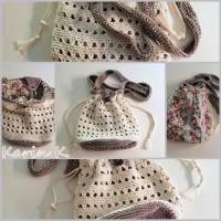 Häkel- Bag Hippie- Tasche City- Bag Wollweiß Taupe Innentasche aus Baumwolle im Blüten- Design Bild 9