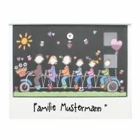 Briefkasten Familie Wunschname handbemalt Fahrrad Bild 1