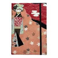 """Notizbuch Tagebuch """"Hello Geisha"""" A5 Hardcover stoffbezogen Geisha Kimono Japan Asien Geschenk Bild 2"""