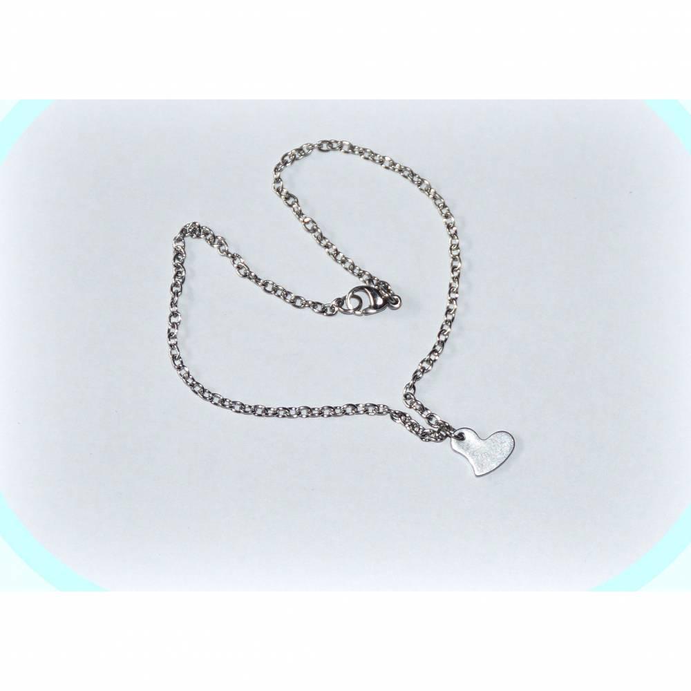 Edelstahl Fußkettchen Herz, Fußkette aus Edelstahl mit Anhänger Herzchen Bild 1