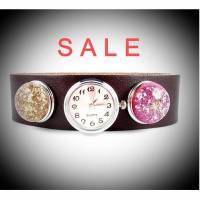 Armbanduhr, Lederuhr, Damenuhr, braun,silber, Buttons, Blumen, SALE, * r3-3 Bild 1