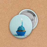 Button - Cupcake blau - 38 mm Bild 1