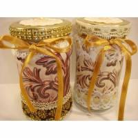 Upcycling-2 Geleegläser-Bonbonglas-golden-Pralinenglas-Geschenk aus der Küche Bild 1