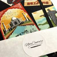 """Notizbuch Tagebuch Reisetagebuch """"Vintage Postcards"""" Retro Retrostil Postkarten Weltreise Kreuzfahrt Geschenk Bild 6"""