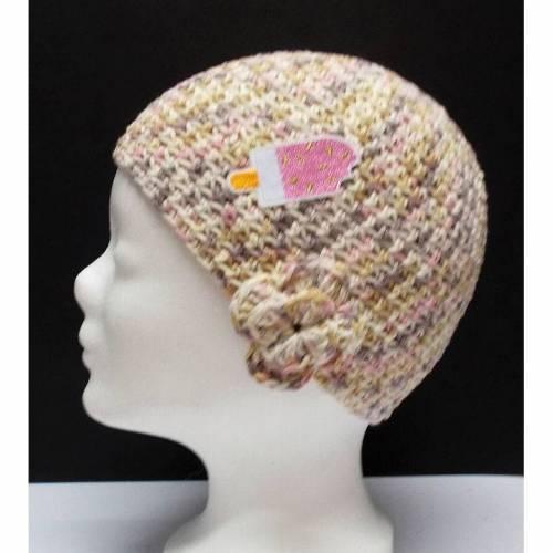 Mütze, modern, Handarbeit, grau rosa beige, mit Eis Patchy,  Damenmütze, Mützen