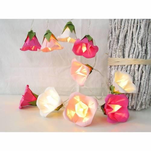 Lichterkette Glockenblume pink-rosa-weiß, Kinderzimmerdeko, Nachtlicht, Geschenk Mädchen, Tischdeko Taufe