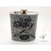 Edelstahl Flachmann bestickt 200 ml Steakhouse Barbequer Schnapsflasche Grillmeister grillen Barbeque Weihnachten Männergeschenk Bild 1