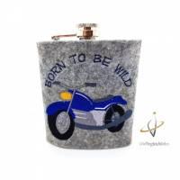 Flachmann Edelstahl Flachmannhülle bestickt 200 ml Born to be wild Route 66 Motorradfahrer Männergeschenk Biker Moped Easy Rider Weihnachten Bild 1