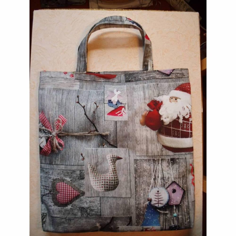 Einkaufstasche, Shopper, Weihnachtsdeko, Stofftasche, Stoffbeutel, Einkaufsbeutel Bild 1