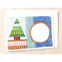 bunte Weihnachts-Klappkarte, DinA 6 quer, mit freiem weißem Kreis zum selbst weiter gestalten Bild 1
