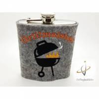 Edelstahl Flachmann bestickt 200 ml Steakhouse Barbequer Schnapsflasche Stier Steak Grillmeister grillen Barbeque Weihnachten Männergeschenk Bild 1