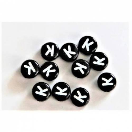 5 Buchstabe K  Buchstabenperlen  Buchstaben schwarz / weiß  7mm