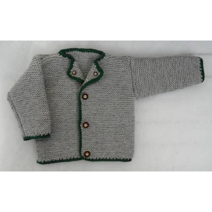 Baby Trachtenjacke grau grün Gr. 74 gestrickt Bild 1