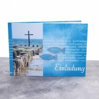 """Einladungskarte Konfirmation, Kommunion oder Firmung """"Kreuz im Meer"""" Bild 1"""