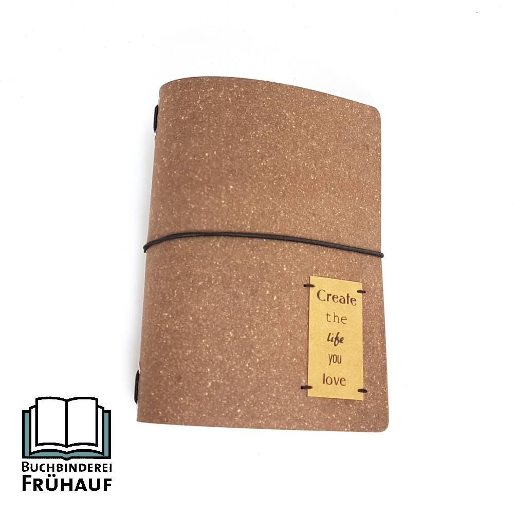 Travelers notebook aus recyceltem Leder Reisetagebuch Bullet Journal DIN A6 inkl. 3 auswechselbarer Hefte  Bild 1