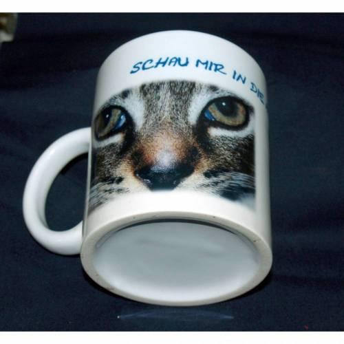 """Keramiktasse Weiß mit Katze und dem Spruch """"Schau mir in die Augen Kleines"""""""