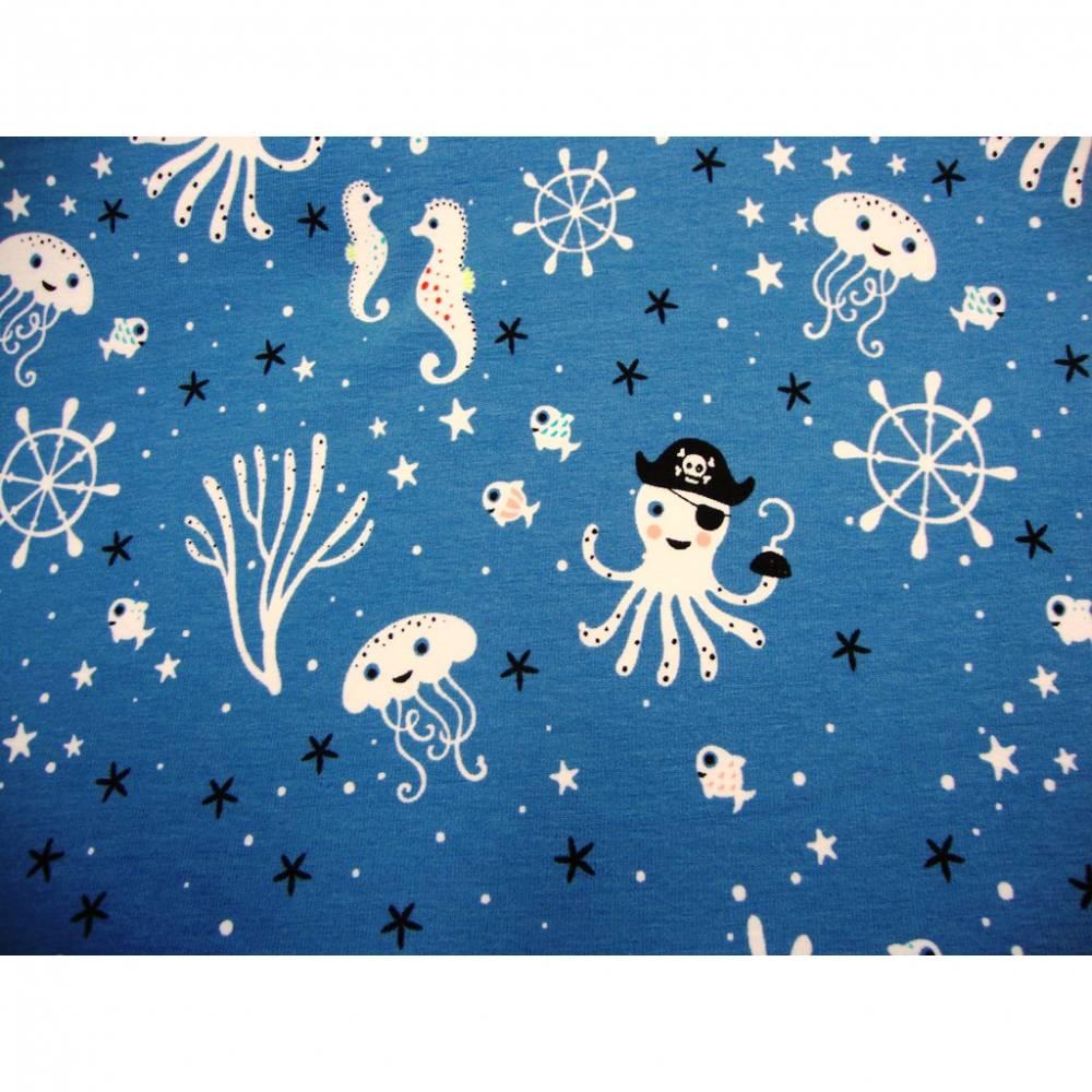 Baumwolljersey Jersey Unterwasser Piraten Krake Seepferdchen blau weiß schwarz 1,50m Breite Baumwolljersey SEA LIFE blau Bild 1