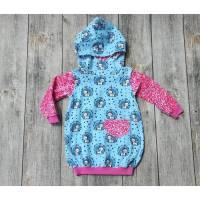 Babykleid Ballonkleid Größe 74/80  - Einhörner auf hellblau Bild 1