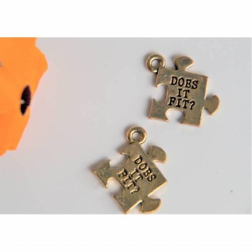 2 Puzzel Teile Anhänger Charms für Ketten Armbänder usw.