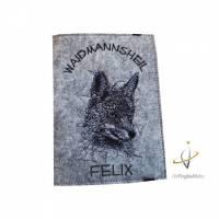 Jagscheinhülle Hülle für den Jagdschein WBK Fuchs Scribble Geschenk Jäger Bild 1