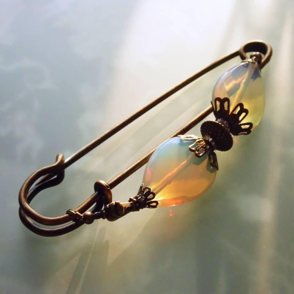 große Tuchnadel Opal - Glas mit Bronze Bild 1