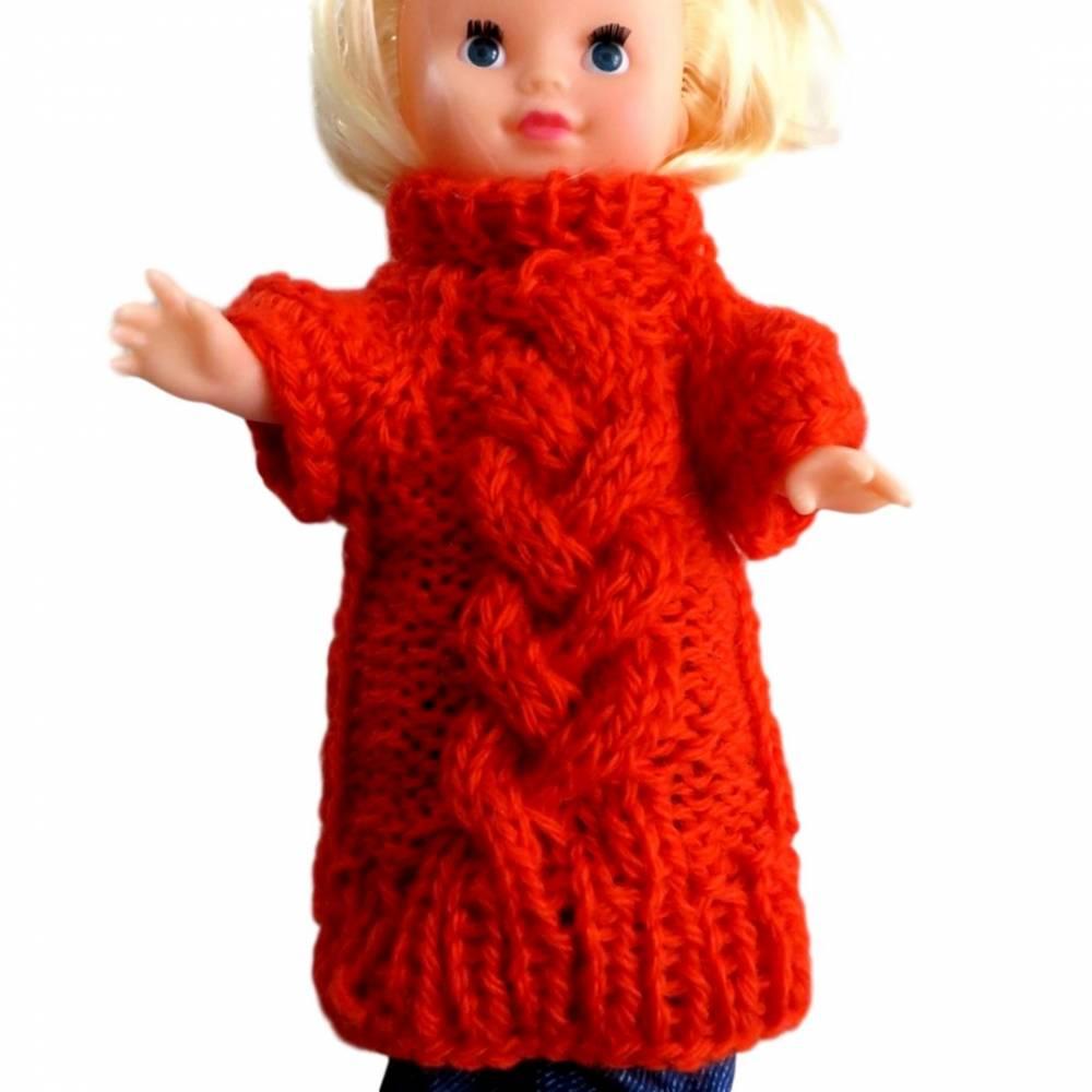 Pullover Rollkragenpullover Raglanpulli Rolli Tunika Kleid für eine Dekorationspuppe Rot Zopfmuster Wolle Polyacryl Bild 1