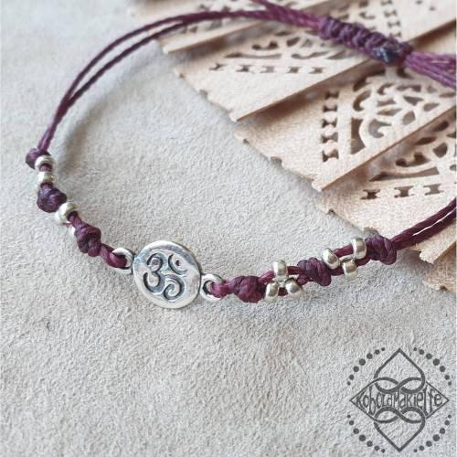 Armband mit Om/Aum/ॐ-Element aus 925 Silber - Unisex Frau Mann - Größenverstellbar - Makramee - Koboldmakielfe