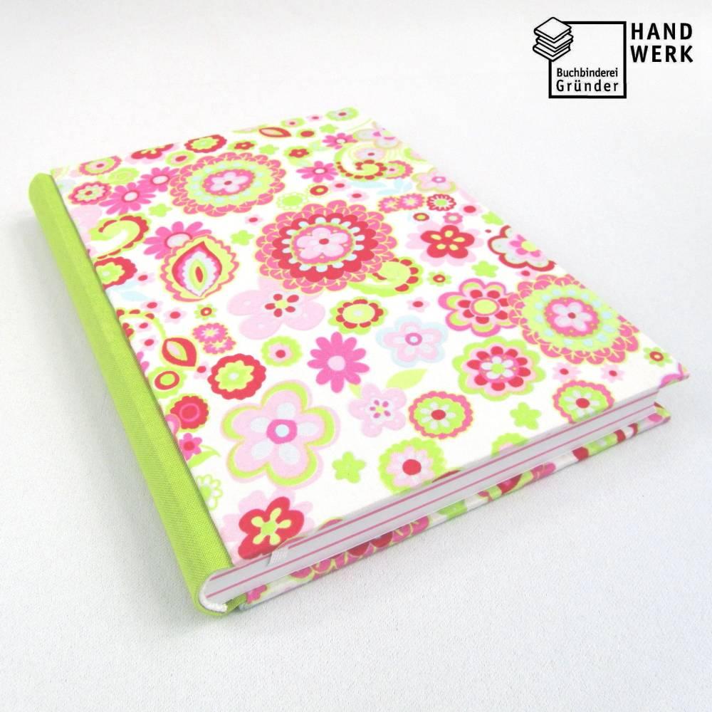 Notizbuch, DIN A5, 300 Seiten, rosa, hell-grün, pink, Blumen Bild 1