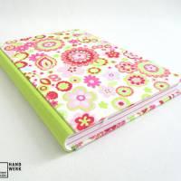 Notizbuch, DIN A5, 300 Seiten, rosa, hell-grün, pink, Blumen Bild 2